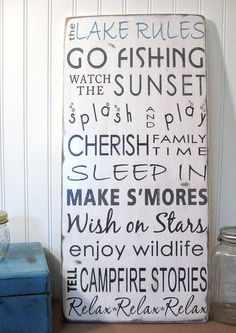 Lake House Cottage  Rules Vintage Style by ToeFishArt