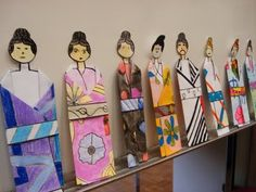 """Folded Paper Japanese Kimonos. Repinned by Elizabeth VanBuskirk on """"Teaching about the Incas."""" This kind of wonderful activity could also be done as an Inca project since the elaborate woven clothing Inca people wear even today could introduce kids to the meanings of cloth and symbolic patterns if Inca thought."""