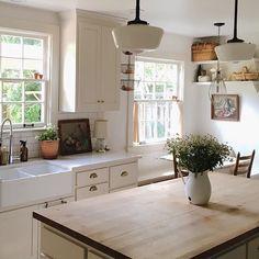 A butcher block kitchen island #interior #furnitures #decor