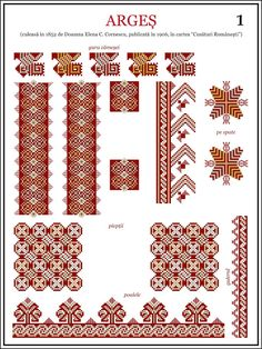 Semne Cusute: ie din MUNTENIA, Arges Folk Embroidery, Learn Embroidery, Embroidery Stitches, Embroidery Patterns, Machine Embroidery, Beading Patterns, Cross Stitch Patterns, Antique Quilts, Pattern Books