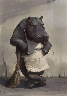бегемот,дворник
