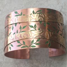 Beautifully hand made etched copper cuff with brass accent. Copper Gifts, Copper Cuff, Alcohol Inks, I Love Jewelry, Silver Bracelets, Brass, Patterns, My Love, Handmade