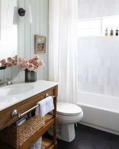 """Anastasia Casey's Instagram post: """"This pretty bathroom's adjacent guest bedroom is getting a makeover! Quinn's office has officially closed, so his WFH days will likely…"""" Guest Bathrooms, Bathroom Renos, Small Bathroom, Bathroom Ideas, Cottage Style Bathrooms, Luxurious Bathrooms, Bathroom Plans, Basement Bathroom, Bathroom Styling"""