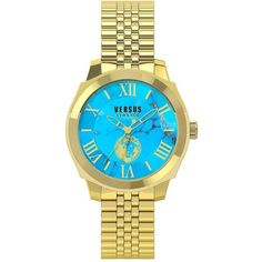 Versus Versace Chelsea Goldtone Stainless Steel Link Bracelet Watch,... ($225) ❤ liked on Polyvore featuring men's fashion, men's jewelry, men's watches, gold, mens stainless steel watches, mens roman numeral watches, mens analog watches and mens gold tone watches
