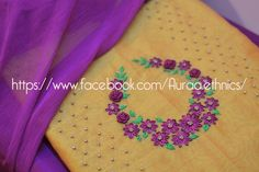 WhatsApp 9035330901 for hand embroidery dress materials customization. (No COD and No wholesale). Embroidery On Kurtis, Hand Embroidery Dress, Kurti Embroidery Design, Hand Embroidery Videos, Embroidery On Clothes, Embroidery Suits, Beaded Embroidery, Embroidery Patterns, Churidar Neck Designs