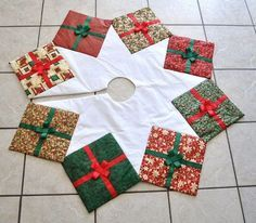 Fabric Crafts Gifts Link - Christmas Tree Skirt Quilted Presents Holiday Print Packages Made To Order. Xmas Tree Skirts, Christmas Tree Skirts Patterns, Christmas Skirt, Christmas Sewing, Christmas Fabric, Noel Christmas, Christmas Stockings, Christmas Ornaments, Christmas Glasses