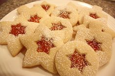 "Chanukah Linzer cookies. ""Quick to mix together and tastes great!"""