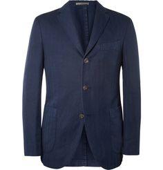 Boglioli Slim-Fit Unstructured Herringbone Cotton and Linen-Blend Blazer | MR PORTER