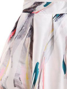 Abstract Painting Print Box Pleated Midi Skirt