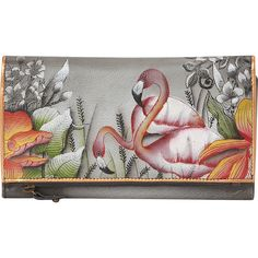 Anuschka Hand Painted Three Fold Clutch - Flamboyant Flamingos -... ($70) ❤ liked on Polyvore featuring bags, handbags, clutches, grey, pocket purse, grey purse, anuschka purses, anuschka handbags and snap purse