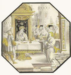 Jozef verklaart de dromen van Farao, Lucas van Leyden, anoniem, ca. 1512