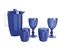 Set de 2 copas, 2 vasos y 1 jarra de plástico - azul