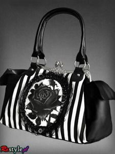 Black rose neo-victorian bag in black and white vertical stripes