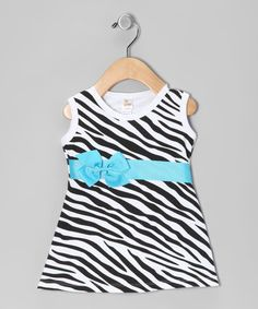 Take a look at this Zebra Bow Dress - Infant, Toddler & Girls by Petunia Petals on #zulily today!