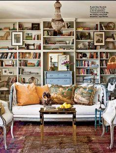La Maison Boheme: At the foot of the bookcase.