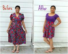 Vintage dress to retro high-waisted skirt! #diy #transformation