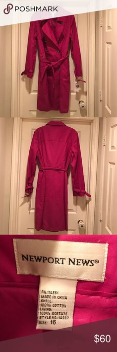 Newport News pink trench coat. Beautiful trench coat, great for fall. Double breasted and fully lined. Newport News Jackets & Coats Trench Coats