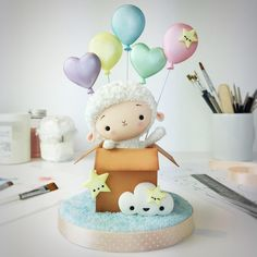 Tutorials by Agnes Jagiello Little Lamb Cake Topper - PDF tutorial with templates Fondant Cake Toppers, Fondant Cakes, Cupcake Cakes, Cupcake Toppers, Sheep Cake, Sheep Fondant, Lamb Cake, Cake Topper Tutorial, Cute Clay