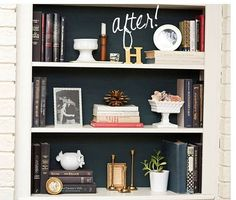 painted & styled book shelf