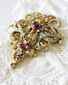Queen Marie - Large Ornate Vintage Rococo Revival Pendant in Gold and Silver Tones with Pearls Rhinestones and Amethyst Glass Stones