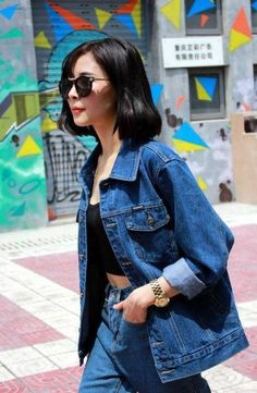 True Blue Denim On Demin. Black crop top and sunnies. Love it
