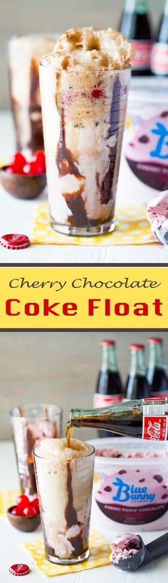 Cherry Chocolate Coke Float is a flavorful ice cream float!  #SoHoppinGood #TopYourSummer #ad