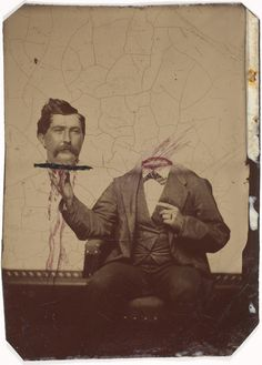 """Victorian era """"headless"""" photograph...with hand-painted blood!"""