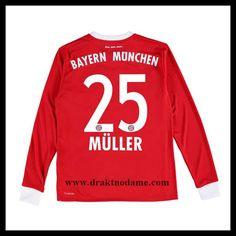 ce7310ea fotball klær Barn MULLER #25 FC Bayern München Langermet Hjemmedrakt, salg  fotball skjorter FC