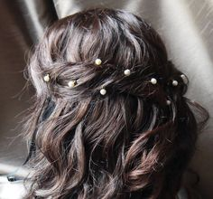 12 freshwater ivory round pearl hair grips / pins for wedding or prom, gold