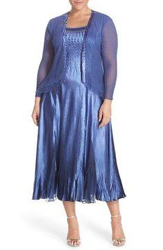 Komarov Chiffon & Charmeuse A-Line Dress with Jacket (Plus Size)