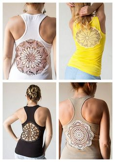 DIY Doily Back Tee Tutorial from Katrinshine here.Really easy tutorial and she has a link to a page of more of her doily back tees and others done with a dyed tablecloth etc Ive posted similar doily tutorials here.