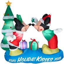 how about a little disney mickie and minnie romance this very cute disney christmas inflatable