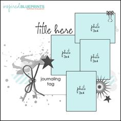 12X12 Scrapbook Sketch. 4 (3X4) Photos. Room for a Title, Journaling (journaling tag) and Embellishments, plus background decoration (paint splatter etc).