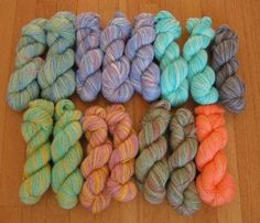 This is just part of the alpaca yarn I dyed.  From shiny white to beautiful shades!