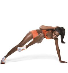 Waist Whittler: Start in a side plank with left wrist under shoulder, right hand behind head, elbow out; stack legs, left foot in front of right. Keeping abs tight, bend left knee toward chest as you draw right elbow toward knee (as shown). Return to start. Do 15 reps. Switch sides; repeat. from Self