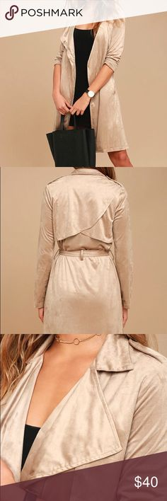 Beige Suede Trench Coat Brand new! Too big doesn't fit. Price final. No trades Lulu's Jackets & Coats Trench Coats