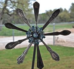 Garden Art From Old Silverware | old silverware for garden stakes - really cute!! Now I know what to do ...
