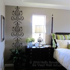 You will receive: 1 Floral Wallpaper Decal. Decal shown in Yellow. Shown in photo in Gloss Black. SIZE: Approx: x (can be cut Floral Wall, Art Floral, Grey Floating Shelves, Vinyl Wall Decals, Wall Stickers, Room Accessories, Bedroom Decor, Bedroom Ideas, Master Bedroom
