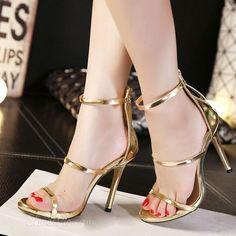 Shoespie Metal Color Zipper Stiletto Sandals