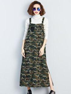 Fashion Beautiful Camouflage Fall Winter Sleeveless Plus Long Maxi Dress