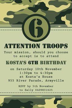 Camo Army Party Invitation