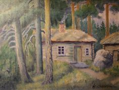 Kalle Aaltonen: Mökki metsän siimeksessä, öljymaalaus Paintings, Art, Art Background, Paint, Painting Art, Kunst, Performing Arts, Painting, Painted Canvas