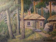 Kalle Aaltonen: Mökki metsän siimeksessä, öljymaalaus Paintings, Art, Art Background, Paint, Painting Art, Kunst, Performing Arts, Painting, Painted Canvas