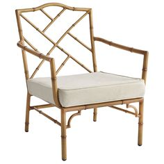 Natural bamboo is durable, but the framing of our Bayan Collection is a bit more so—thanks to its rustproof aluminum construction. The authentic look is a result of hand-finished details, complete with darkened nodes and rings. Add your choice of a modular cushion (sold separately) to this Chinese Chippendale-inspired armchair, and you've acquired timeless (and comfortable) seating that's suited for use both indoors and outside.