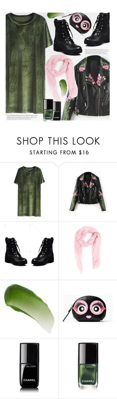 """""""Green With Envy"""" by beebeely-look ❤ liked on Polyvore featuring M Missoni, Lipstick Queen, Kate Spade, Chanel, edgy, Gogreen, streetwear, velvetdress and twinkledeals"""