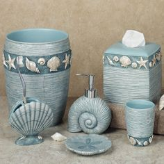 Details About Park Designs Blue Nautical Glass Jars, Starfish And Seahorse,  24 133 And 24 134 | Bathroom Ideas, Shells And Beach Bathrooms