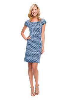 Emma Cap Sleeve Dress In Ocean Wave