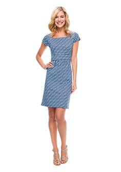 Emma Cap Sleeve Dress In Ocean Wave