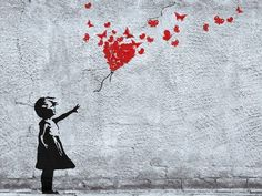 : # Girls - Girl With Butterfly Balloon, Fly Away Heart, Banksy Style. Title: Girl With Butterfly Balloon, Fly Away Heart, Banksy Style. Banksy Graffiti, Street Art Banksy, Banksy Artwork, Banksy Canvas, Street Art Utopia, Graffiti Wall Art, Bansky, Berlin Graffiti, Red Balloon