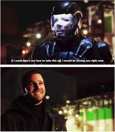 #Arrow #3x23 #Season3 #finale #OliverQueen #FelicitySmoak #theATOMsuit | Look at their faces. Looking at you, Oliver! I'm not crying, you are. Happy tears. | The girl overcame her fear of heights and saved the hero.